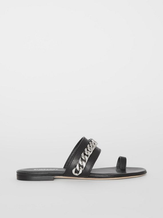Chain Detail Leather Sandals in Black