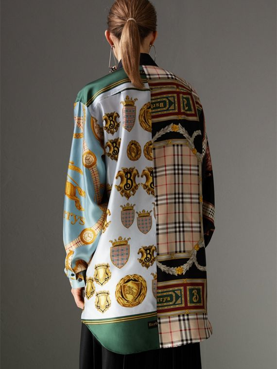Archive Scarf Print Silk Shirt in Airforce Blue - Women | Burberry - cell image 2