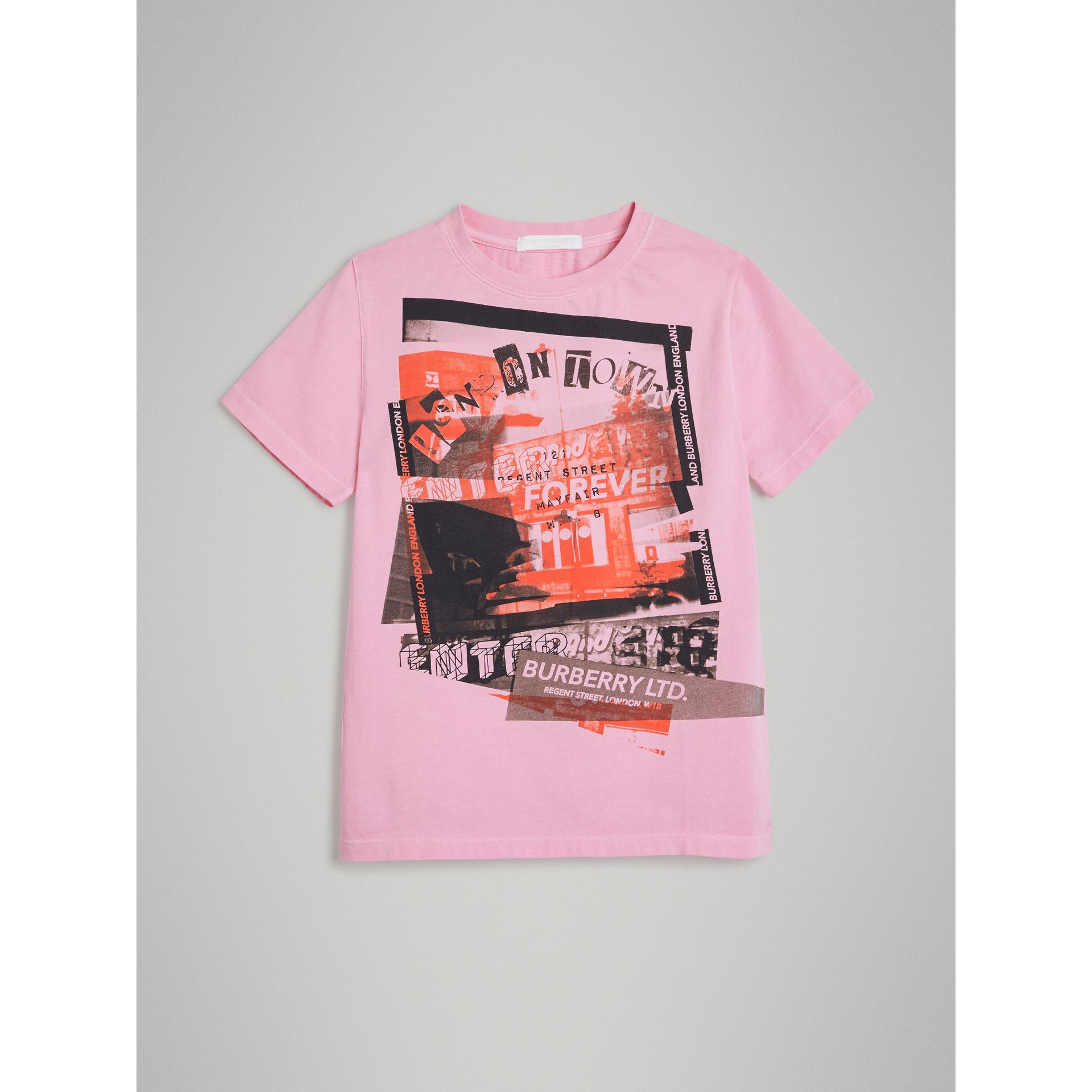 London Street Art Print Cotton T-shirt in Bright Pink - Girl | Burberry - gallery image 0