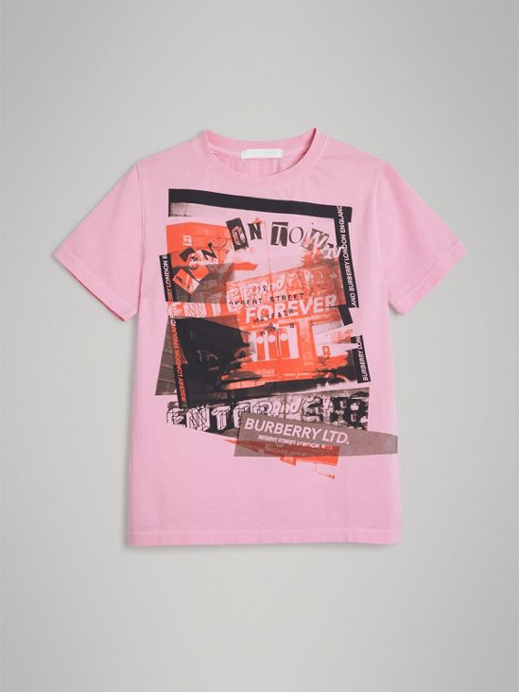 London Street Art Print Cotton T-shirt in Bright Pink