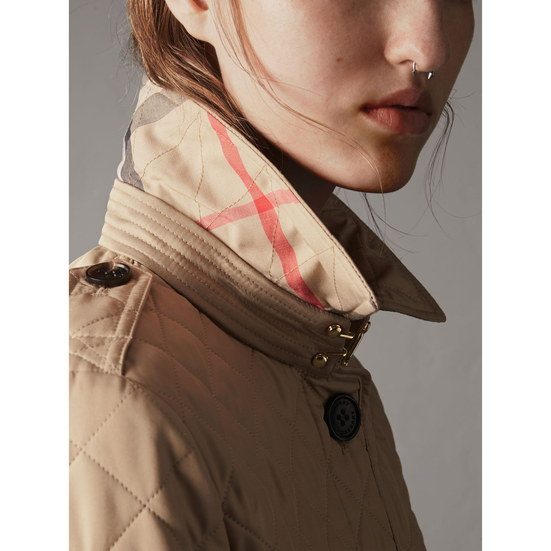 Diamond Quilted Jacket in Canvas - Women | Burberry - gallery image 1