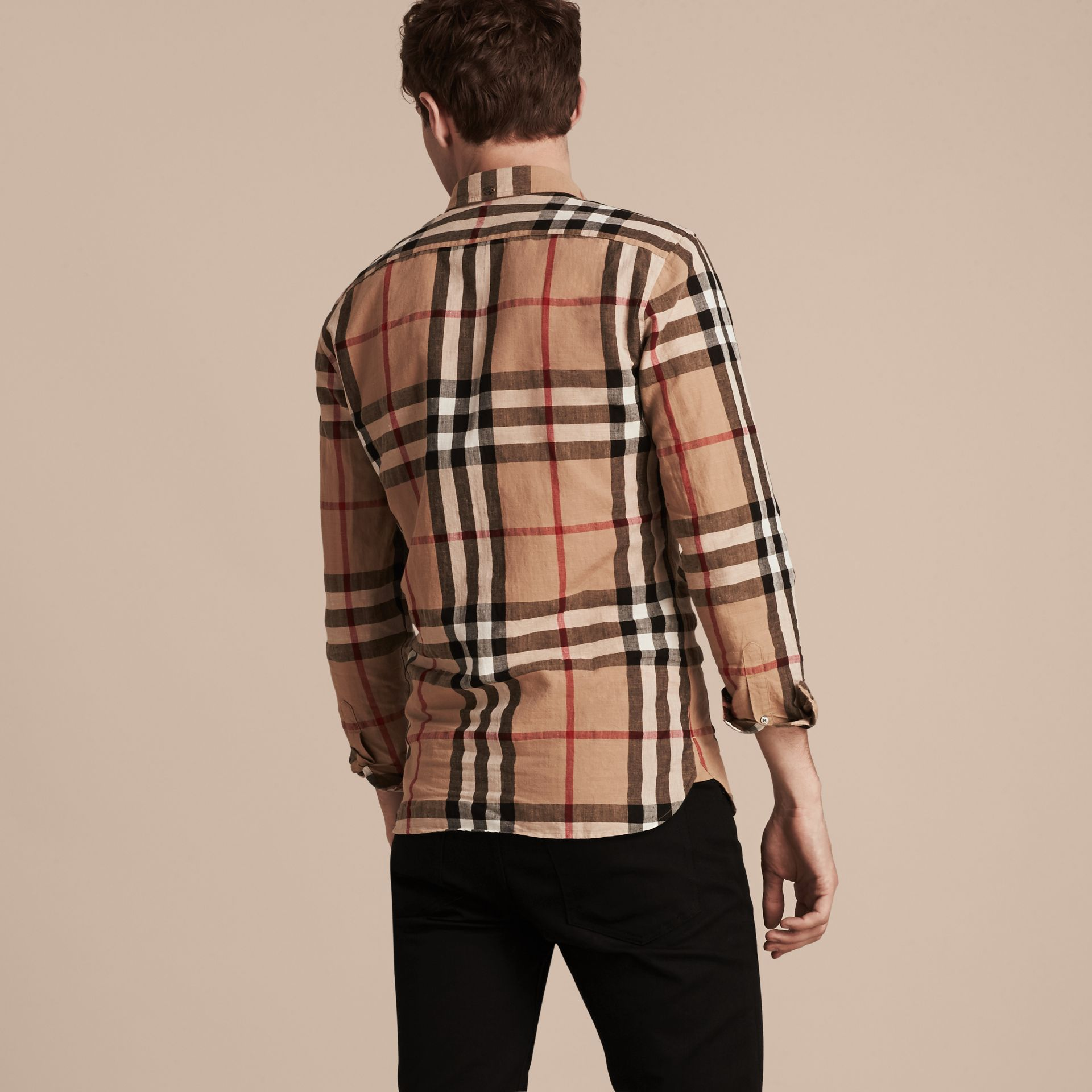Button-down Collar Check Linen Cotton Shirt Camel - gallery image 3