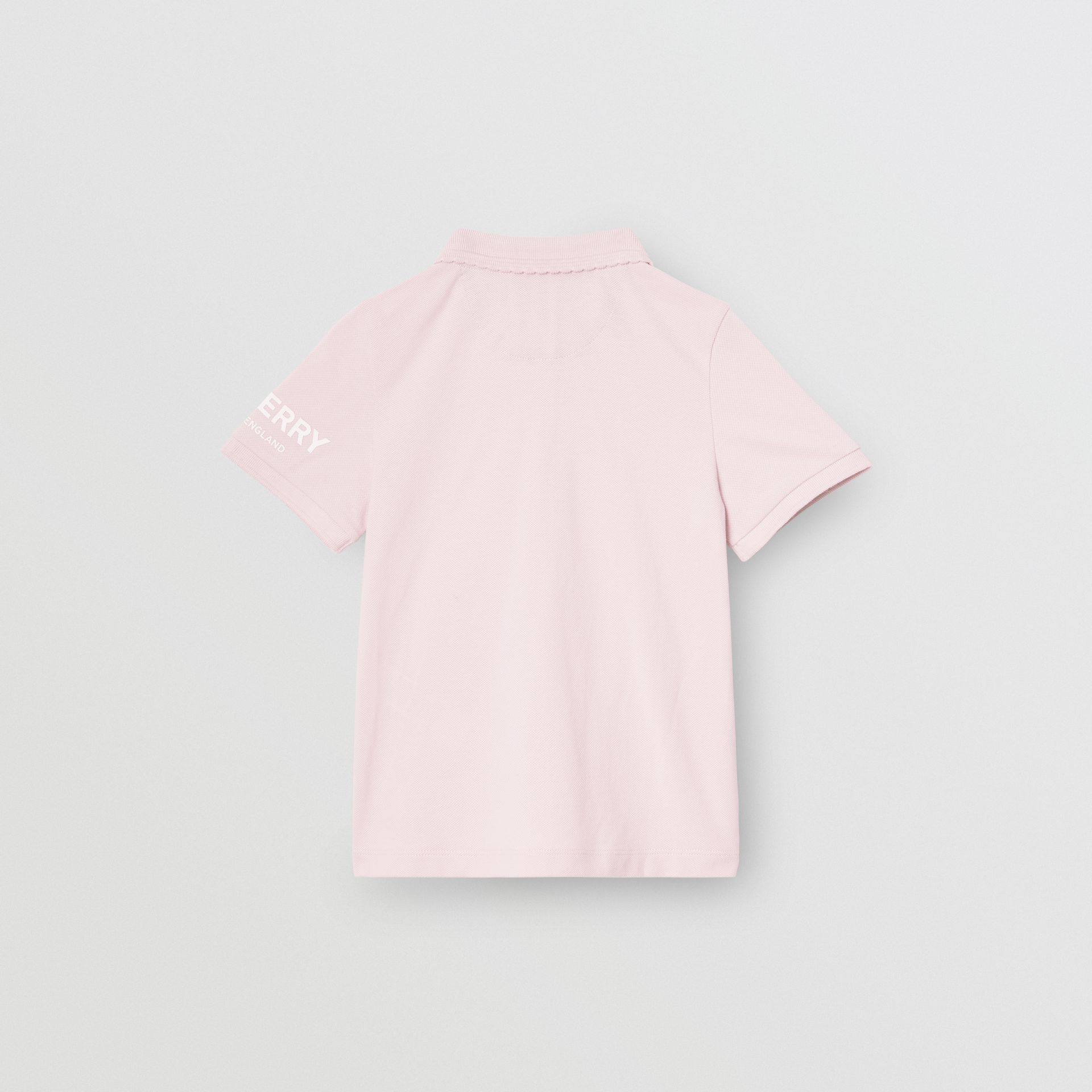 Logo Print Cotton Piqué Polo Shirt in Ice Pink | Burberry - gallery image 3