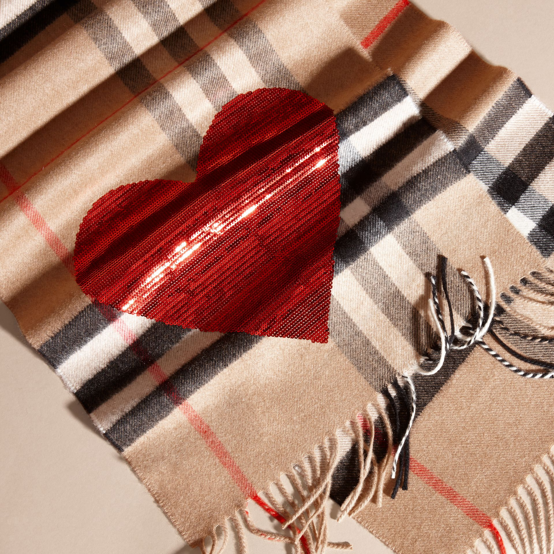 Camel/red The Classic Cashmere Scarf in Check with Sequined Heart Camel/red - gallery image 5
