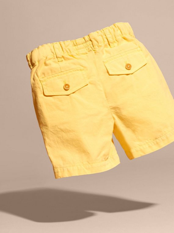Cotton Military Chino Shorts in Bright Yellow | Burberry - cell image 3