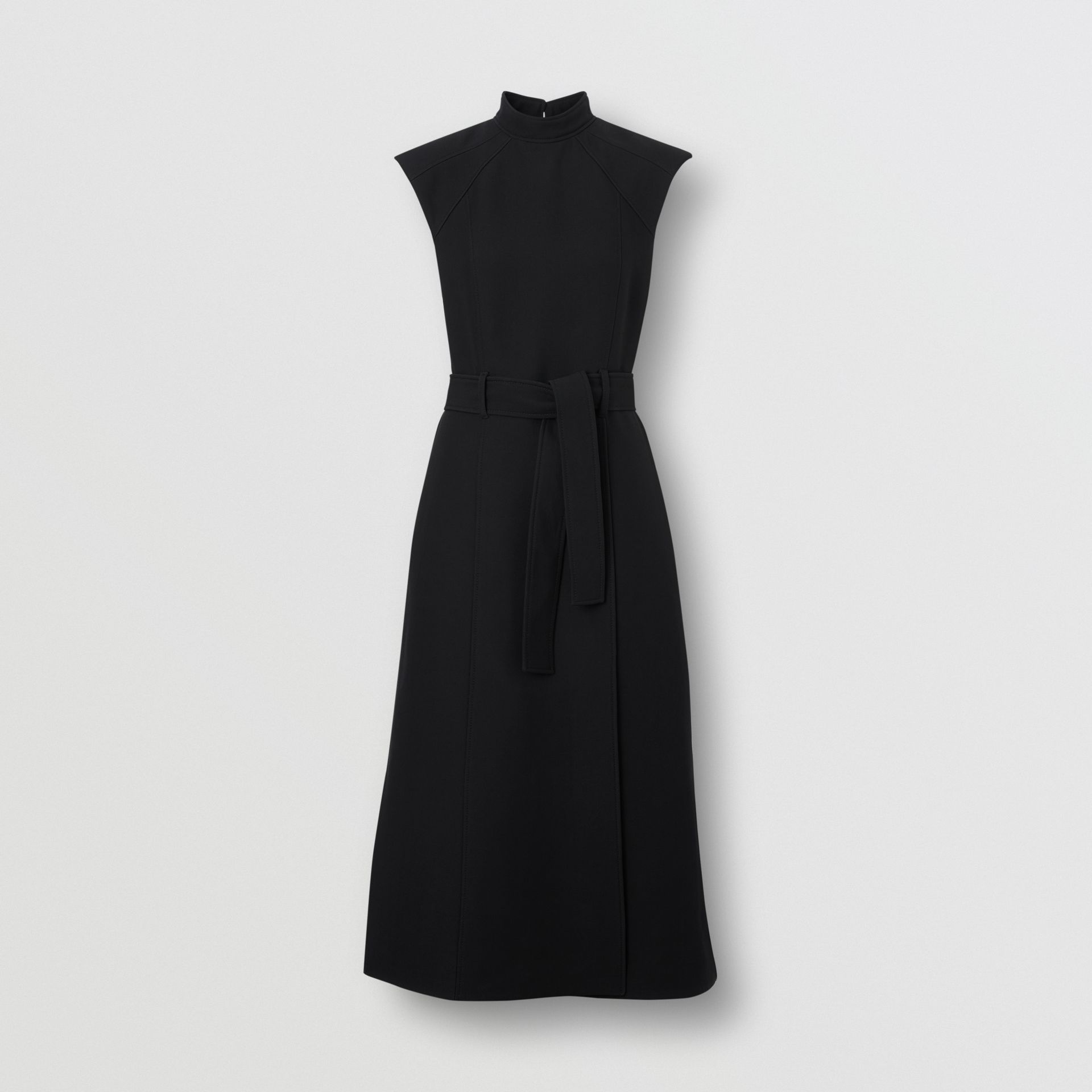 Wool Silk Belted Dress in Black - Women | Burberry United Kingdom - gallery image 3