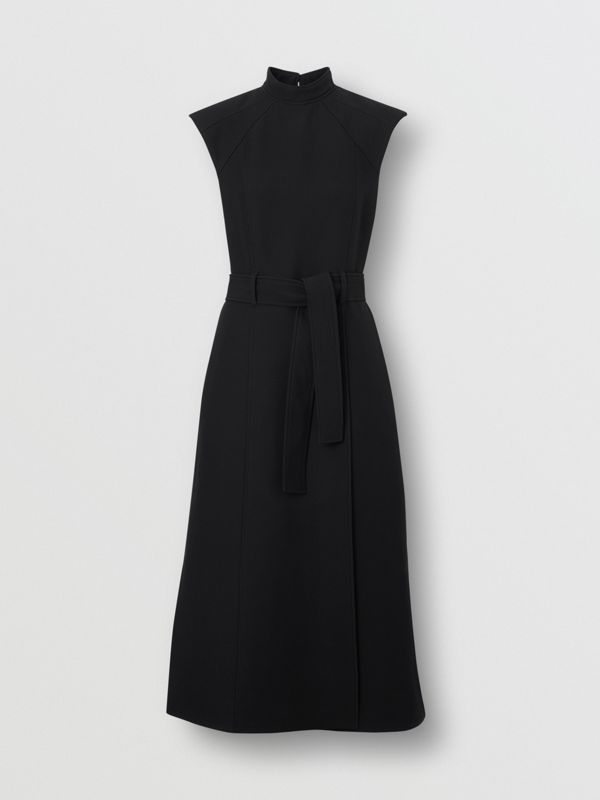 Wool Silk Belted Dress in Black - Women | Burberry United Kingdom - cell image 3