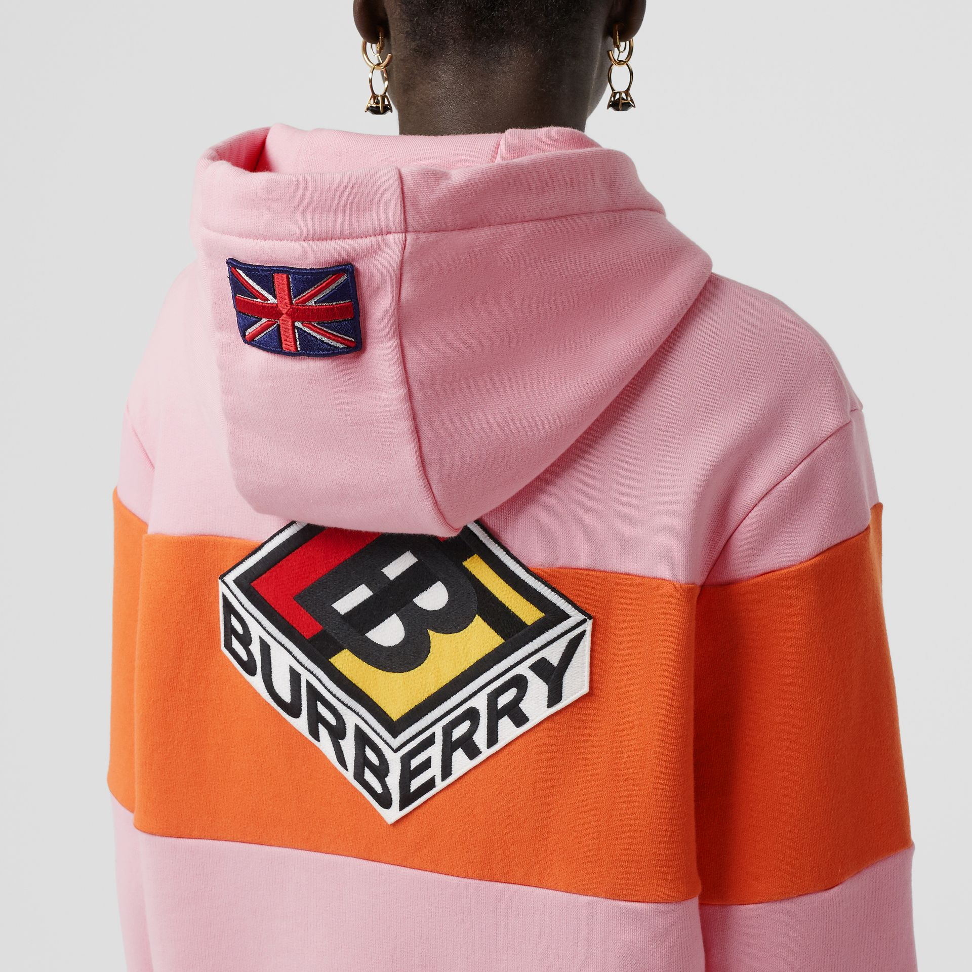 Logo Graphic Panelled Cotton Oversized Hoodie in Candy Pink - Women | Burberry - gallery image 4