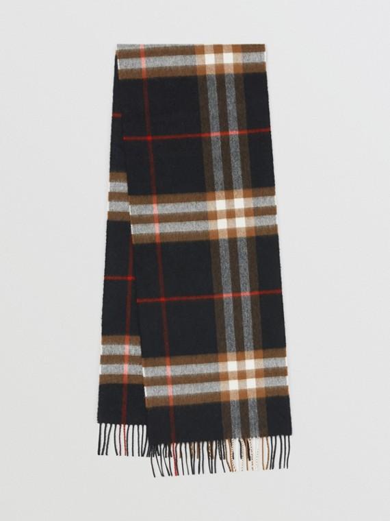 Sciarpa classica in cashmere con motivo tartan (Nero/marrone)