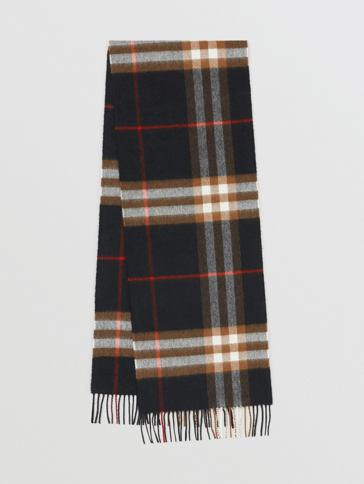 The Classic Check Cashmere Scarf in Black/brown