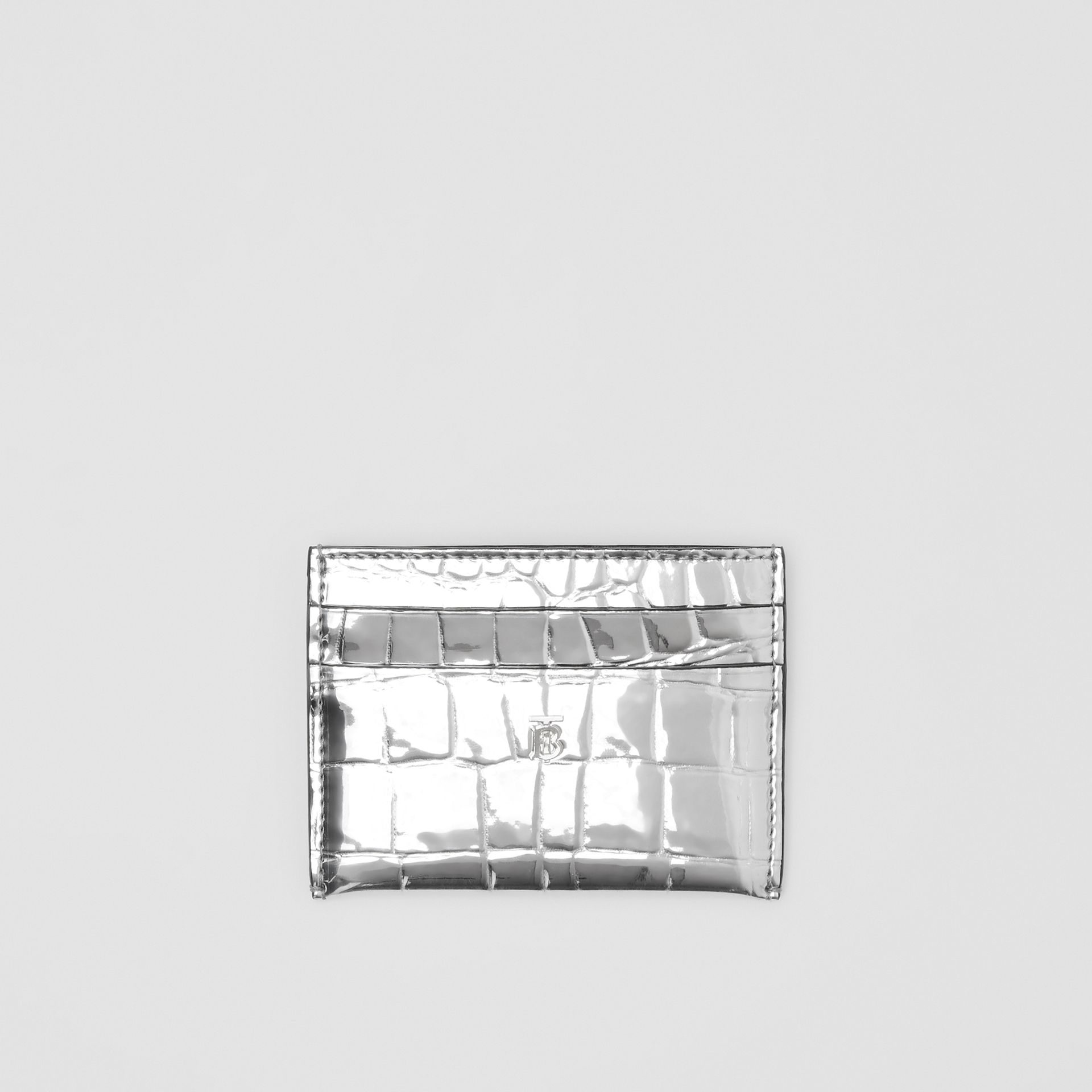 Metallic Embossed Card Case in Silver - Women | Burberry - gallery image 0