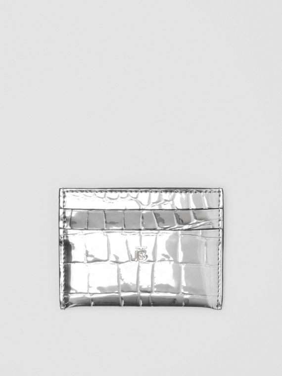 Metallic Embossed Card Case in Silver