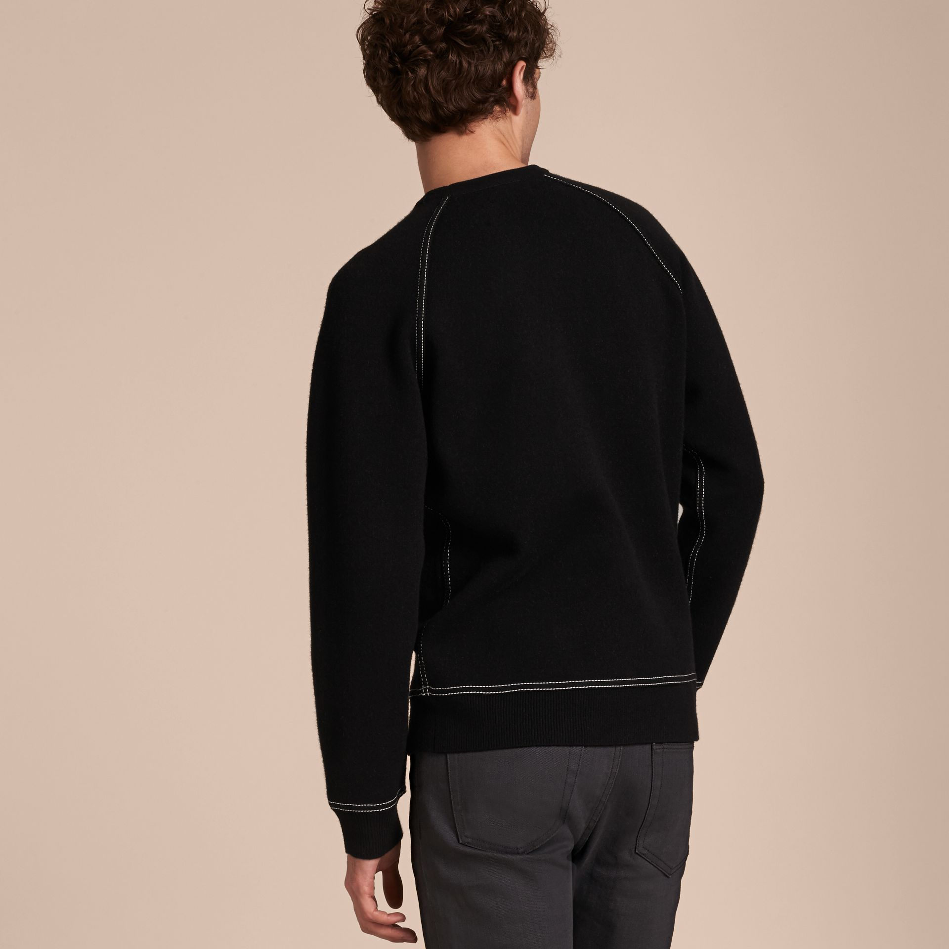 Topstitch Detail Wool Cashmere Blend Sweatshirt in Black - Men | Burberry - gallery image 3