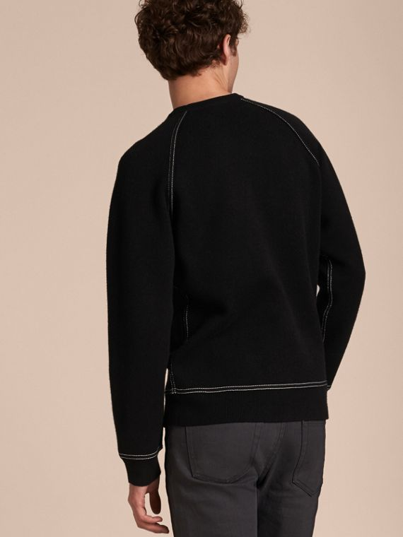 Topstitch Detail Wool Cashmere Blend Sweatshirt in Black - Men | Burberry - cell image 2