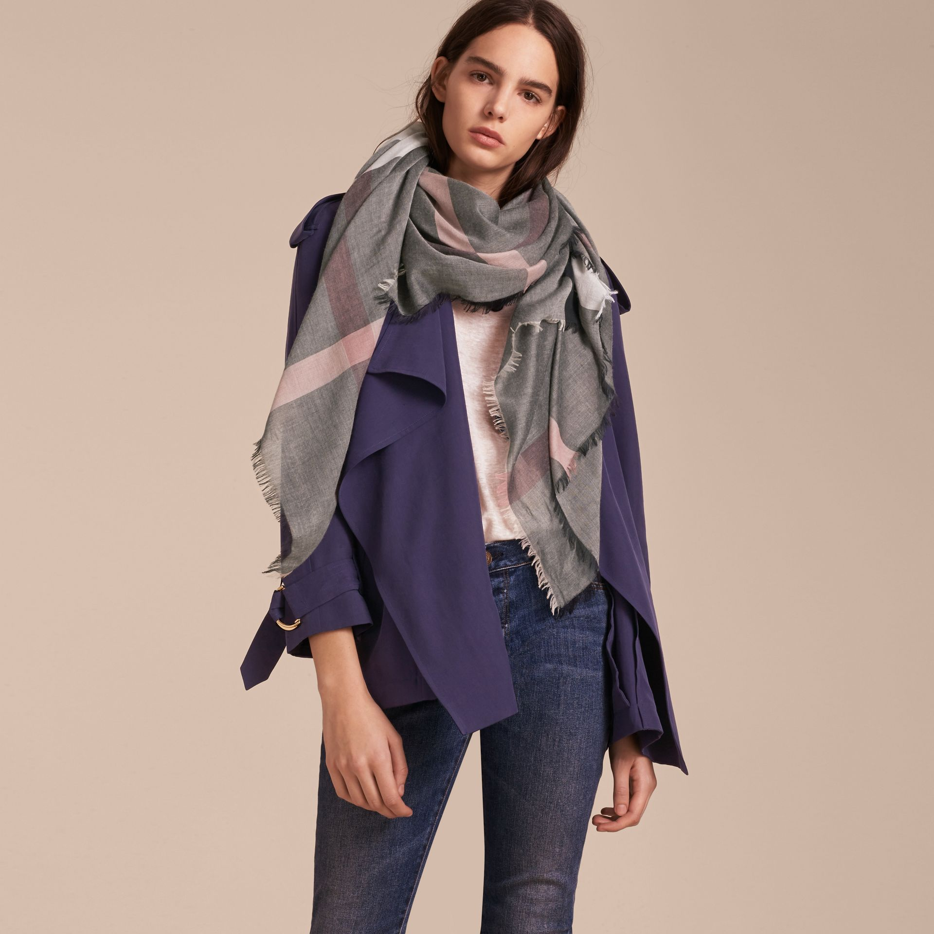 Check Modal and Wool Square Scarf in Dark Trench - Women | Burberry United Kingdom - gallery image 3
