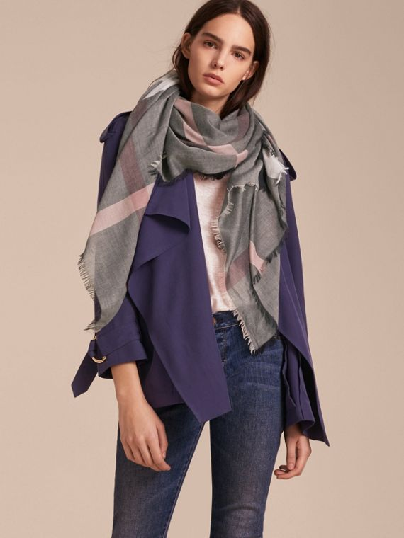 Check Modal and Wool Square Scarf Dark Trench - cell image 2
