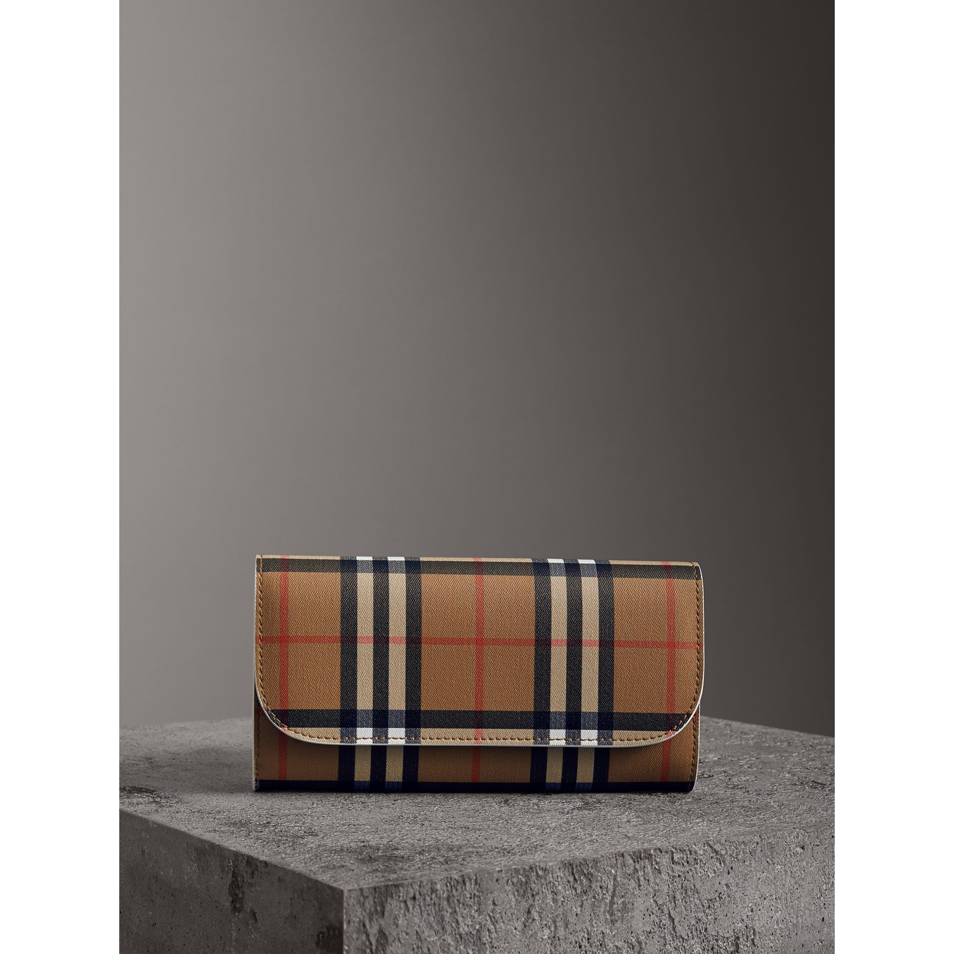 Vintage Check and Leather Continental Wallet in Chalk White - Women | Burberry - gallery image 4