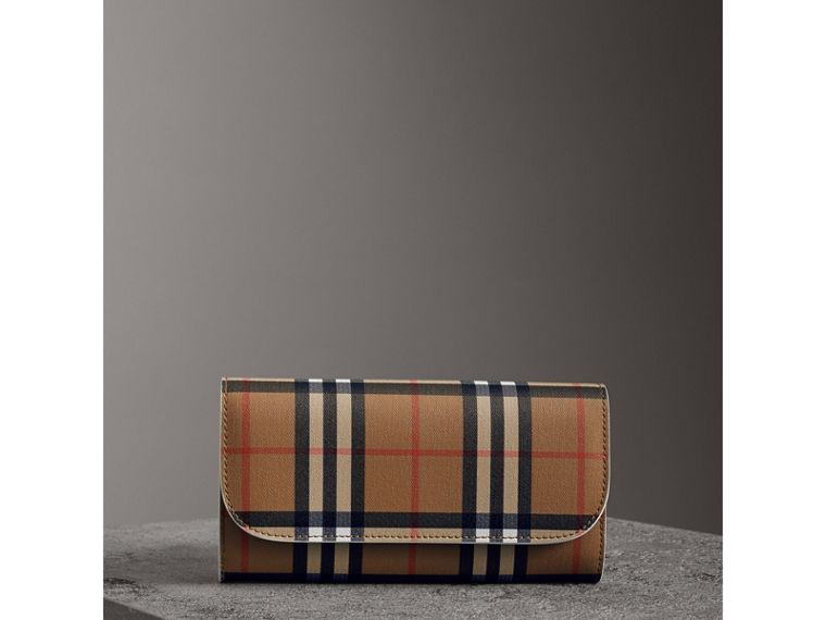 Vintage Check and Leather Continental Wallet in Chalk White - Women | Burberry - cell image 4