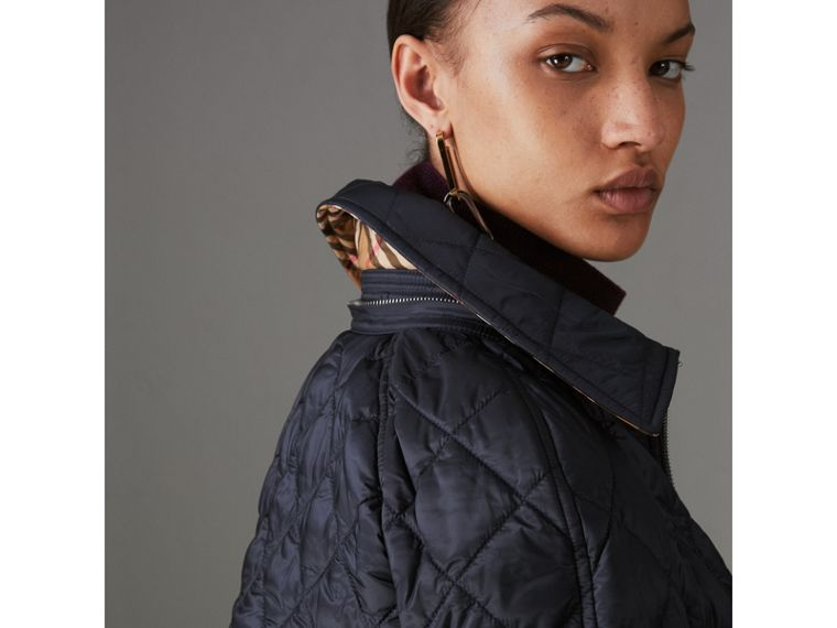 Detachable Hood Lightweight Diamond Quilted Coat in Ink - Women | Burberry - cell image 4