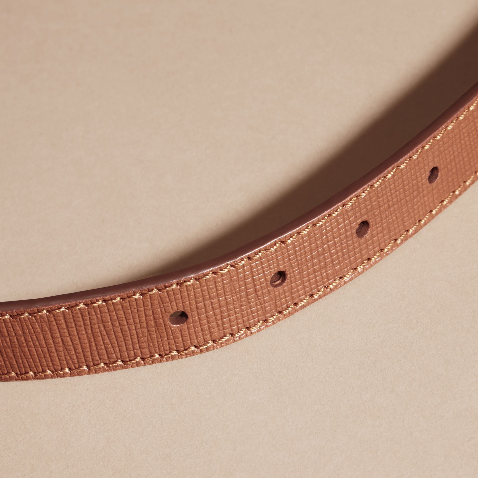 Dark tan Textured Leather Belt with Topstitch Detail Dark Tan - gallery image 4