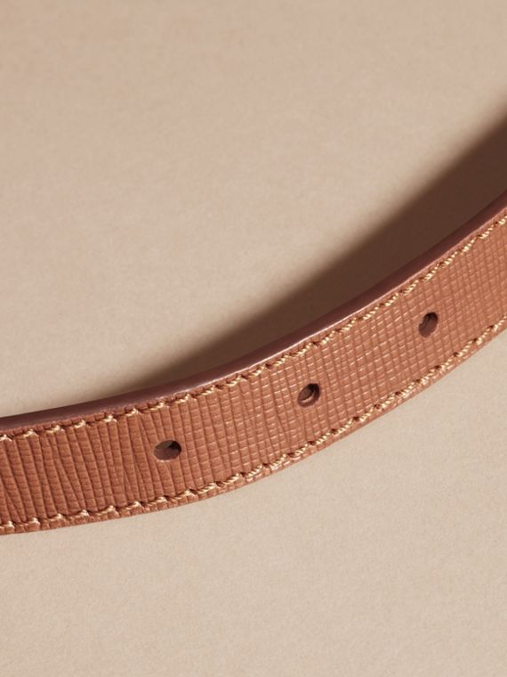 Dark tan Textured Leather Belt with Topstitch Detail Dark Tan - cell image 3
