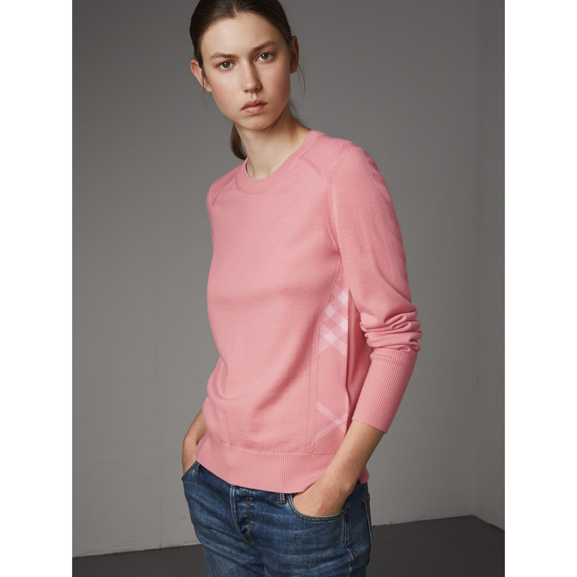 Check Detail Merino Wool Sweater in Apricot Pink - Women | Burberry - gallery image 1