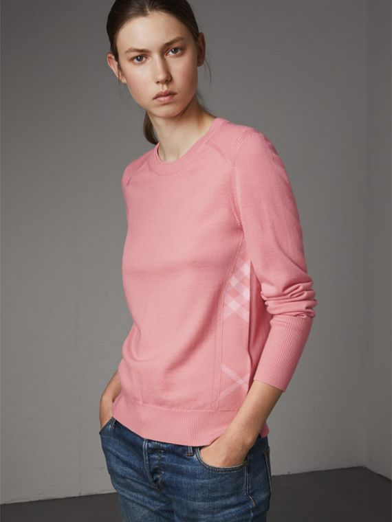 Check Detail Merino Wool Sweater in Apricot Pink