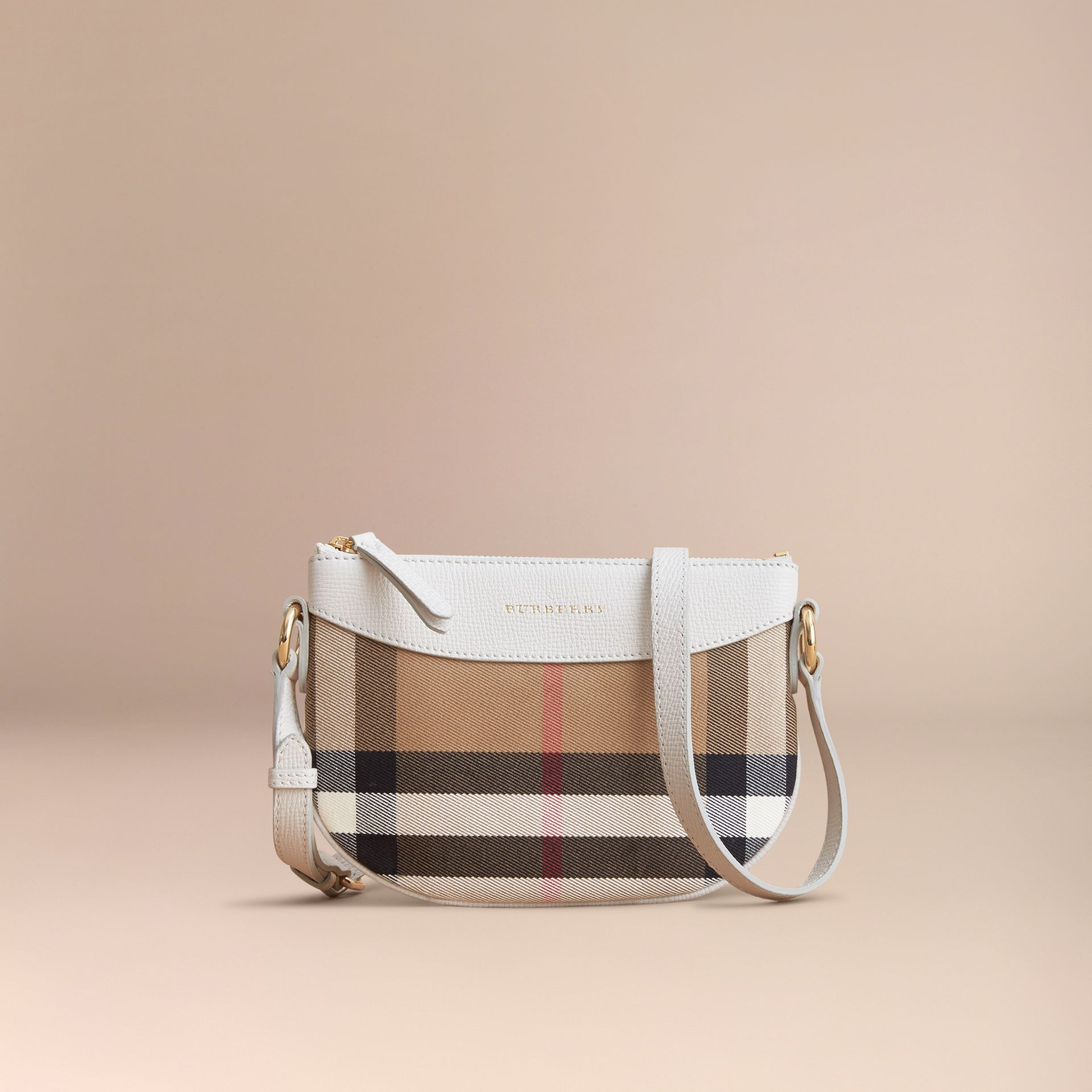 House Check and Leather Crossbody Bag in Natural - Girl | Burberry - gallery image 5
