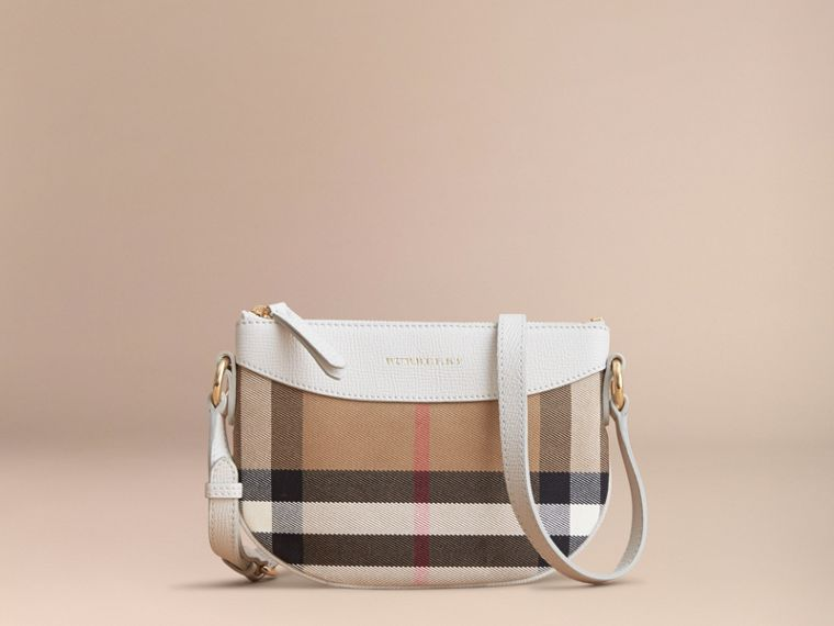 House Check and Leather Crossbody Bag in Natural | Burberry - cell image 4