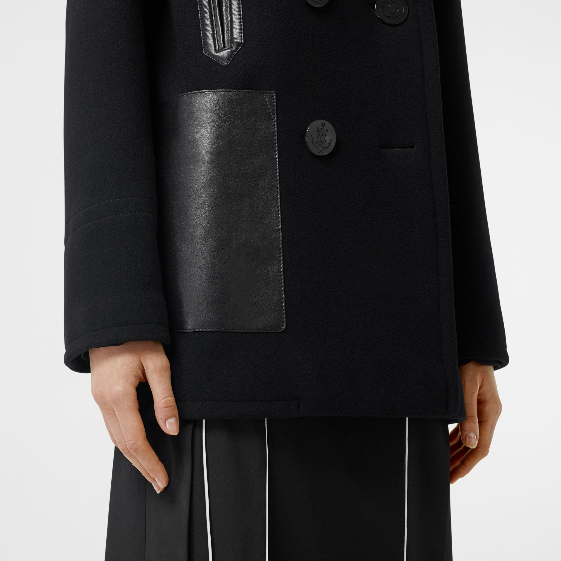 Lambskin Pocket Wool Blend Pea Coat in Black - Women | Burberry - gallery image 5