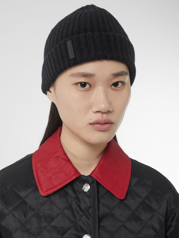 Rib Knit Cashmere Beanie in Black | Burberry Australia - cell image 2