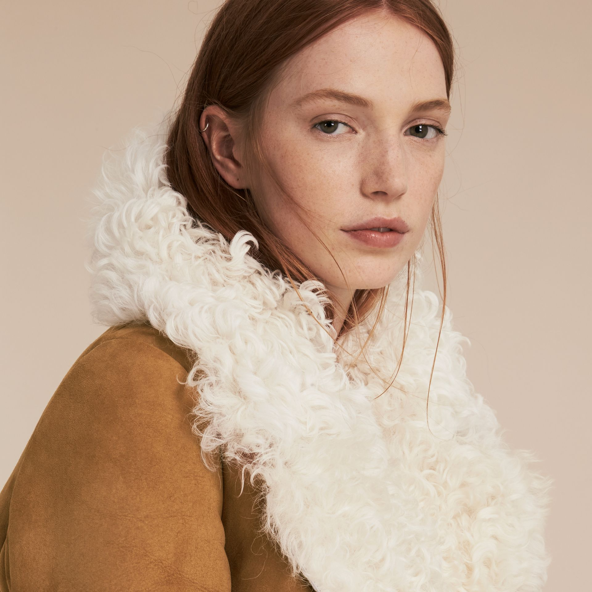 Ecru/tan Double-breasted Shearling Coat - gallery image 5