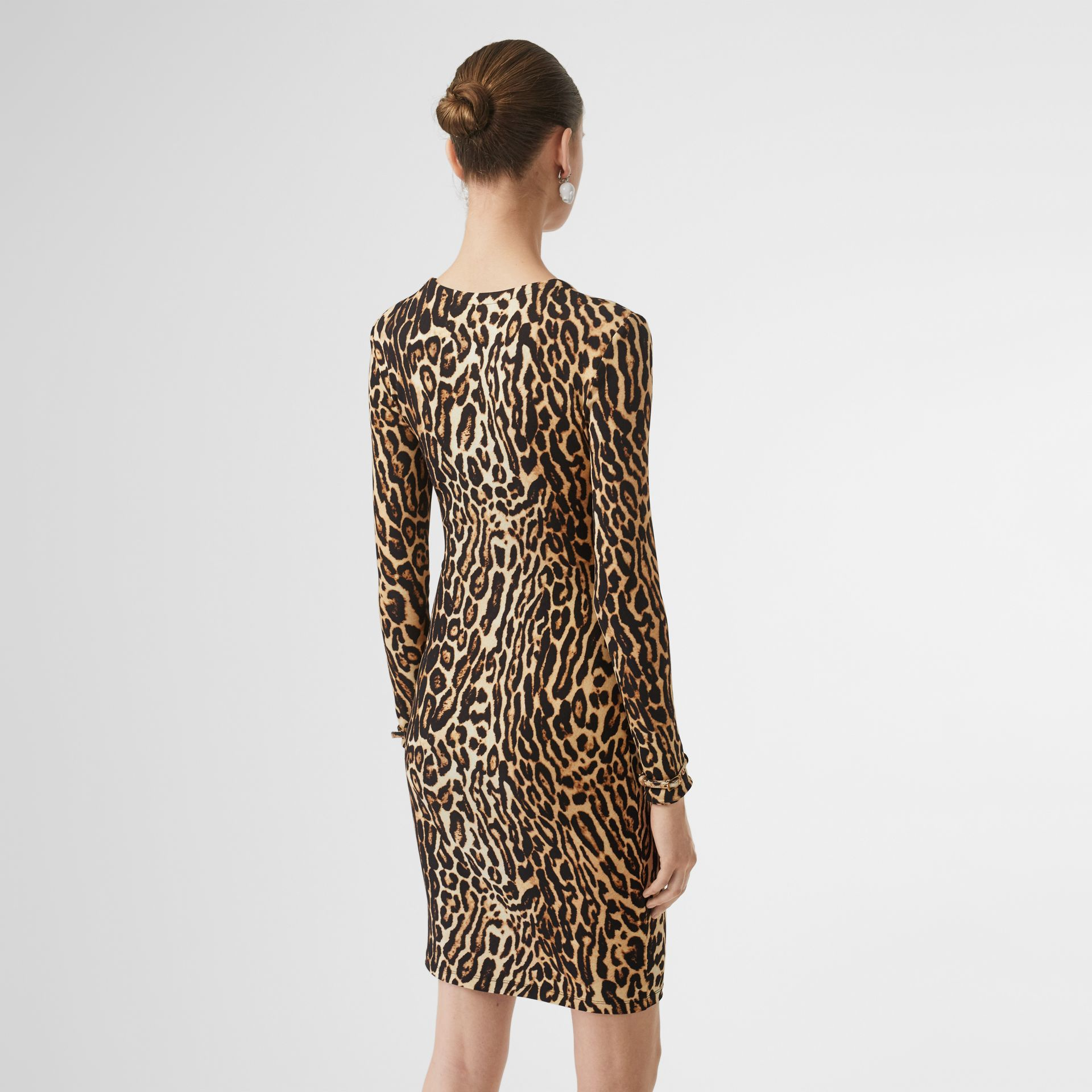 Leopard Print Stretch Jersey Mini Dress in Camel - Women | Burberry - gallery image 2