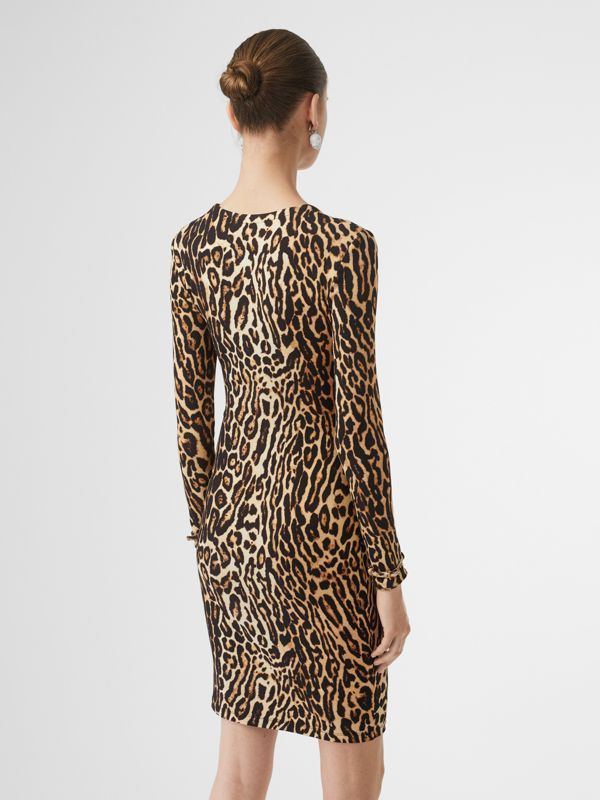 Leopard Print Stretch Jersey Mini Dress in Camel - Women | Burberry - cell image 2