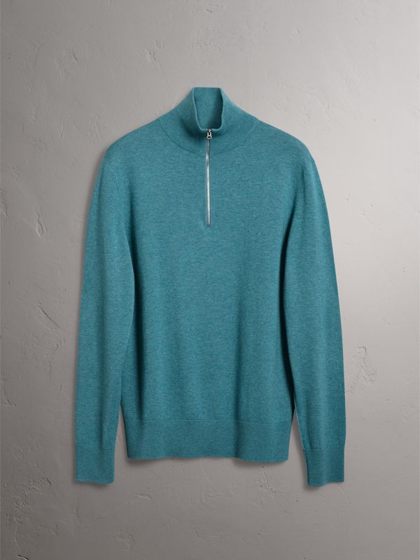 Zip-neck Cashmere Cotton Sweater in Grey Blue - Men | Burberry - cell image 3