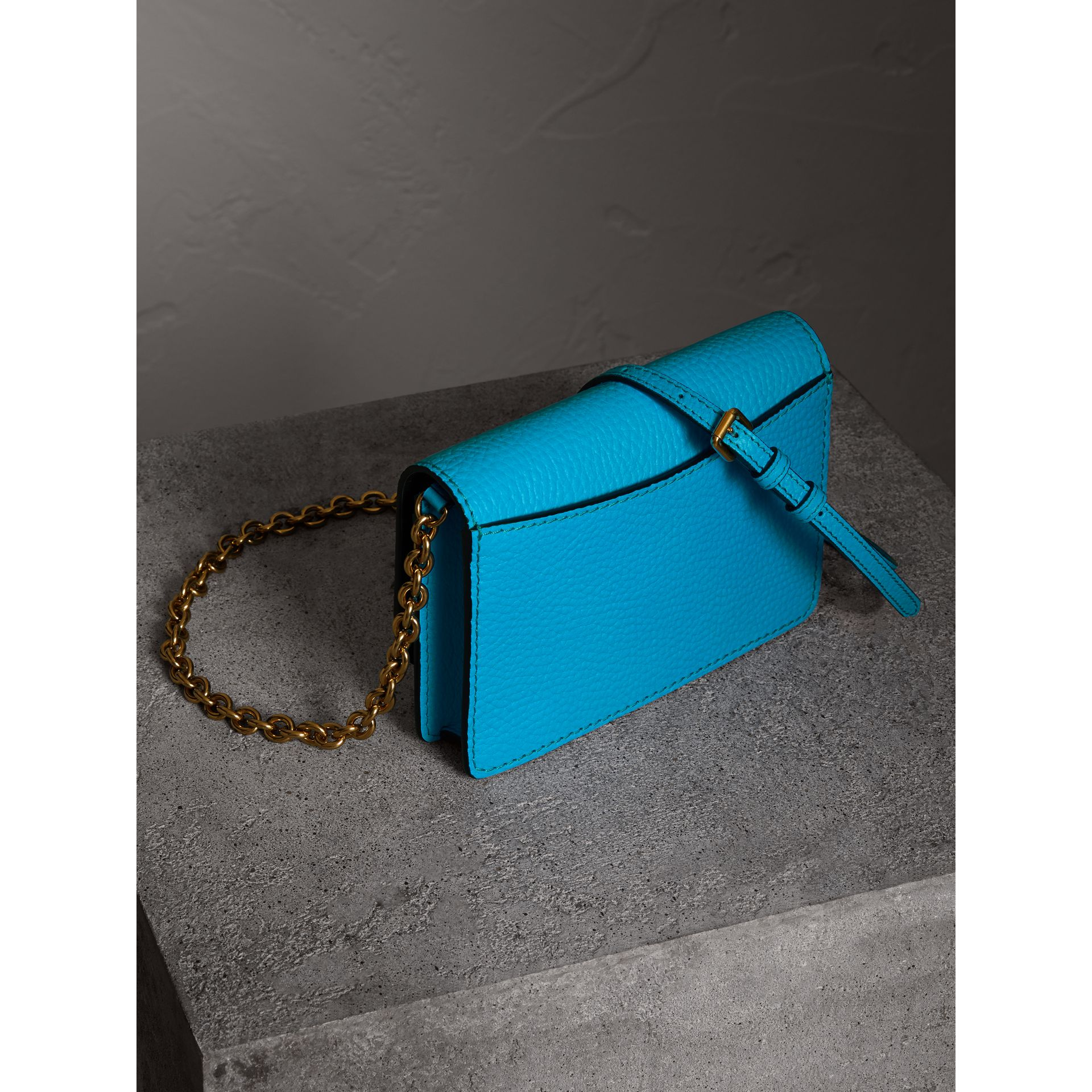 Embossed Leather Wallet with Detachable Strap in Bright Blue - Women | Burberry - gallery image 2