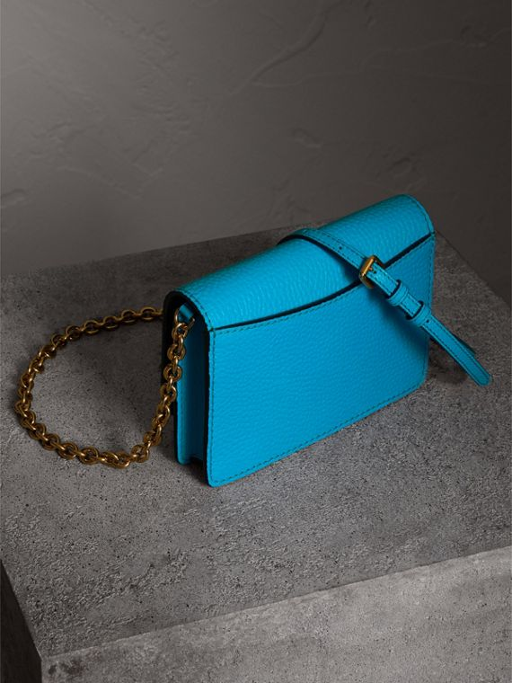 Embossed Leather Wallet with Detachable Strap in Bright Blue - Women | Burberry - cell image 2
