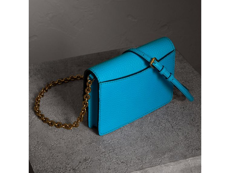 Embossed Leather Wallet with Detachable Strap in Bright Blue - Women | Burberry - cell image 4