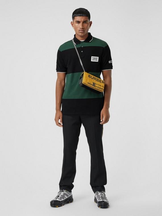 Logo Appliqué Striped Cotton Polo Shirt in Dark Pine Green