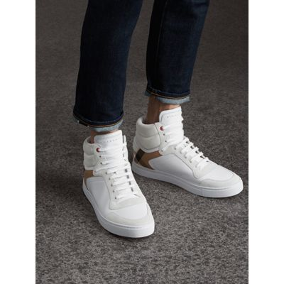 Outlet Release Dates Leather and House Check High-top Sneakers - White Burberry Cheap Sale Shop View Browse Sale Online e4s8e7Xegg