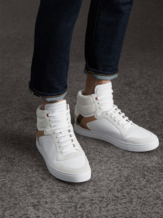 Leather and House Check High-top Trainers in Optic White - Men | Burberry Singapore - cell image 2