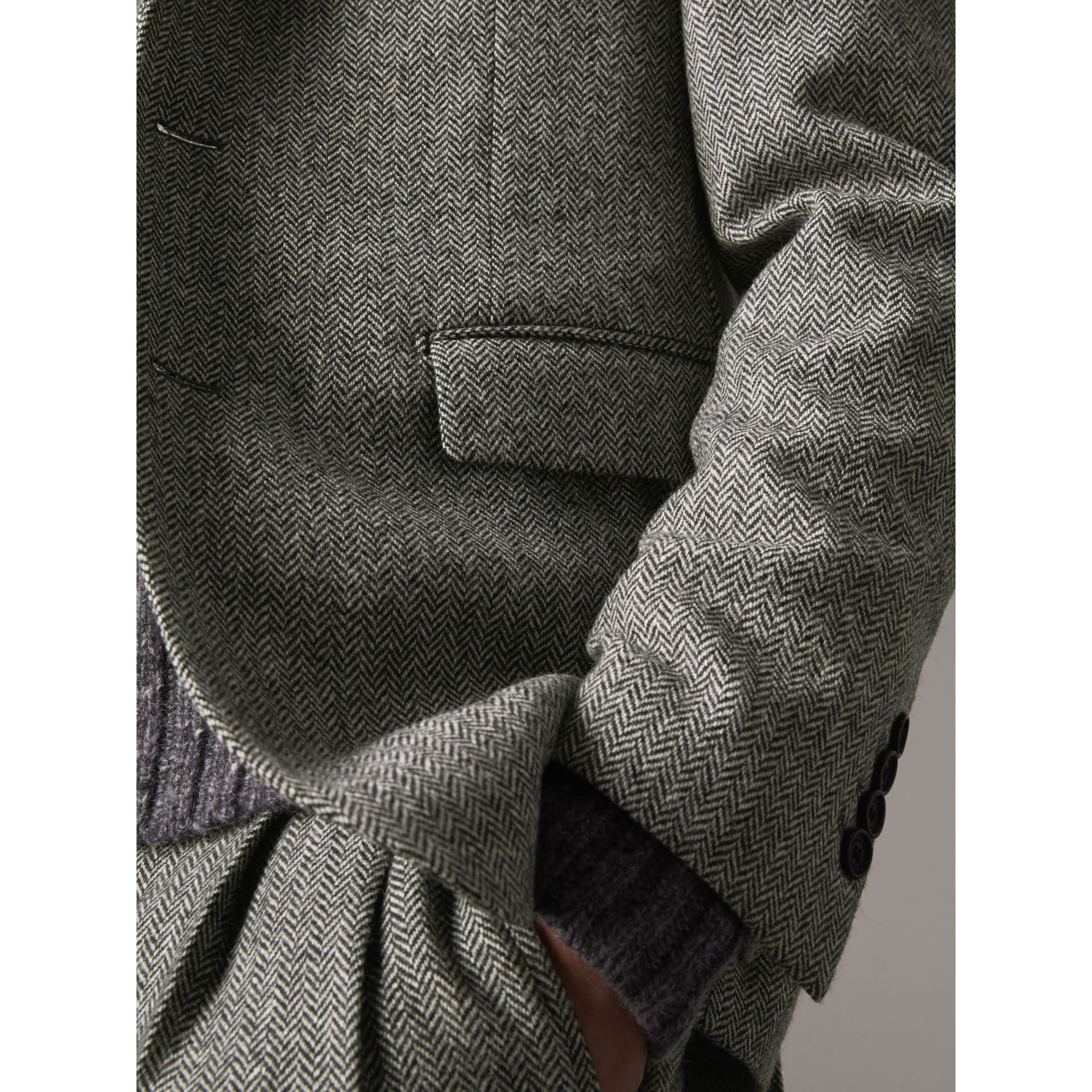 Soho Fit Herringbone Wool Tailored Jacket in Black / White - Men | Burberry Singapore - gallery image 5