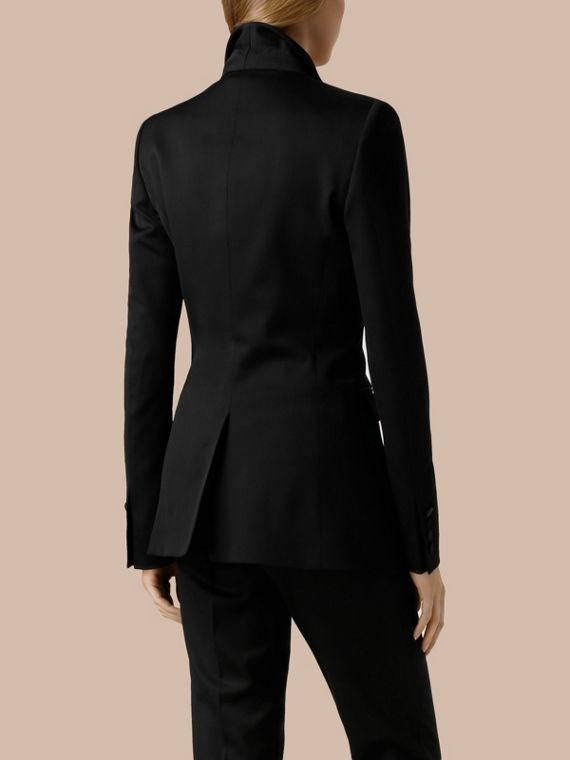 Black Stretch Wool Tuxedo Jacket - cell image 2