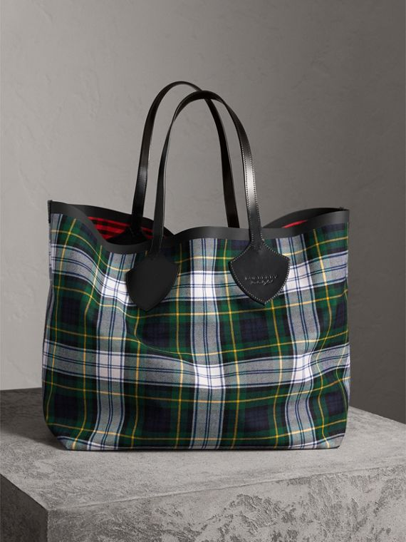 Borsa tote The Giant double face in cotone con motivo tartan (Blu Inchiostro/rosso Militare)