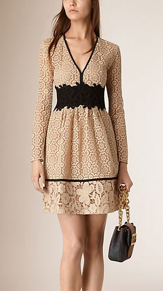 Empire Line Patchwork Lace Dress