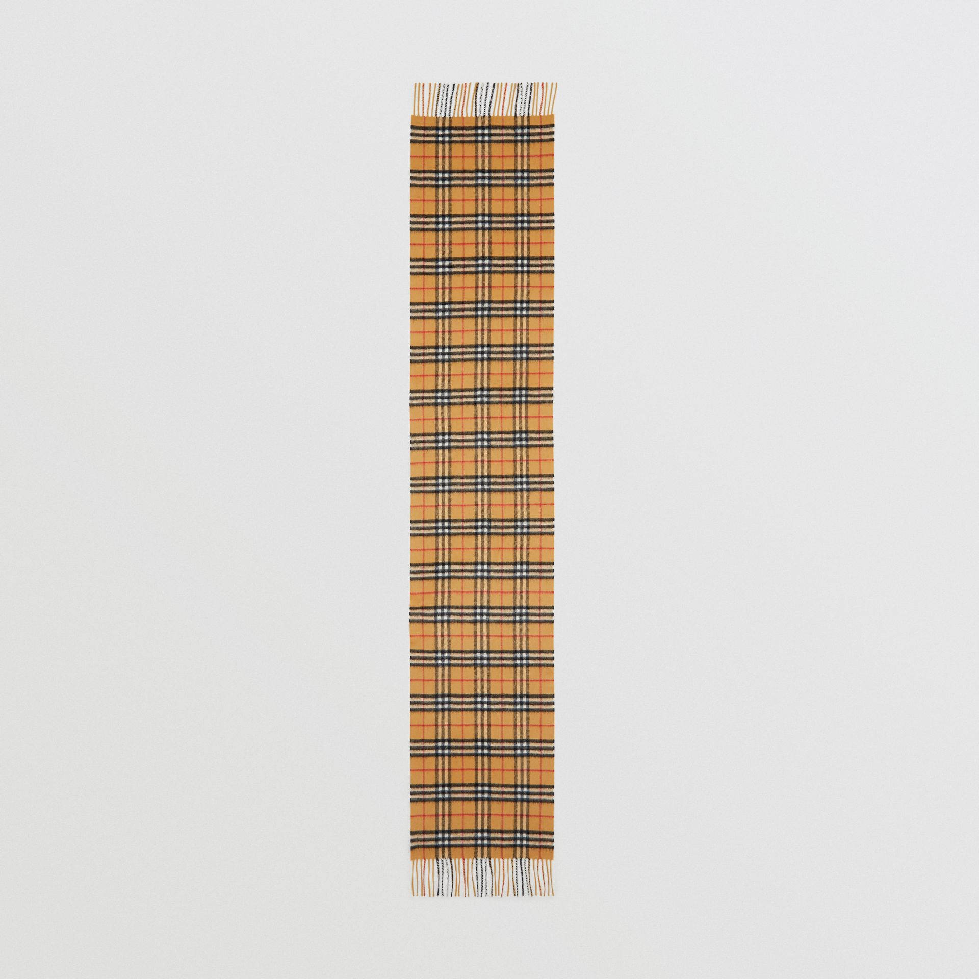 The Classic Vintage Check Cashmere Scarf in Antique Yellow | Burberry Singapore - gallery image 3