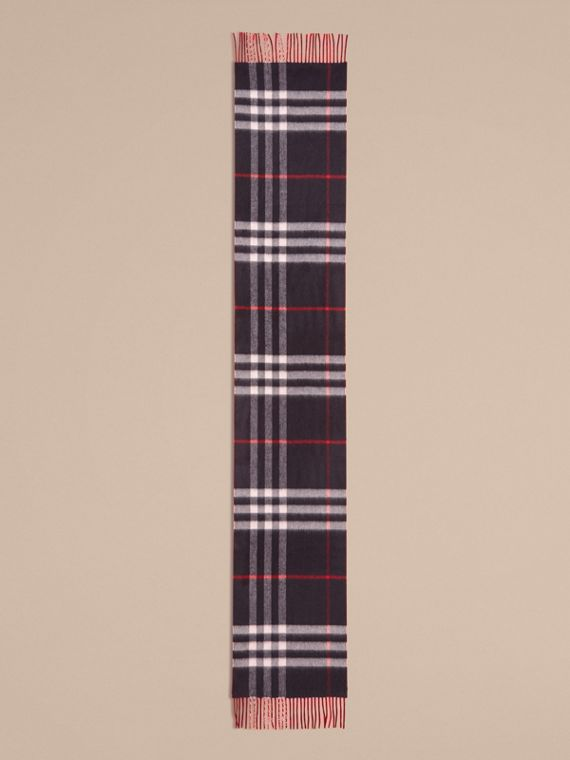 Navy Reversible Check Cashmere and Block-colour Scarf Navy - cell image 2
