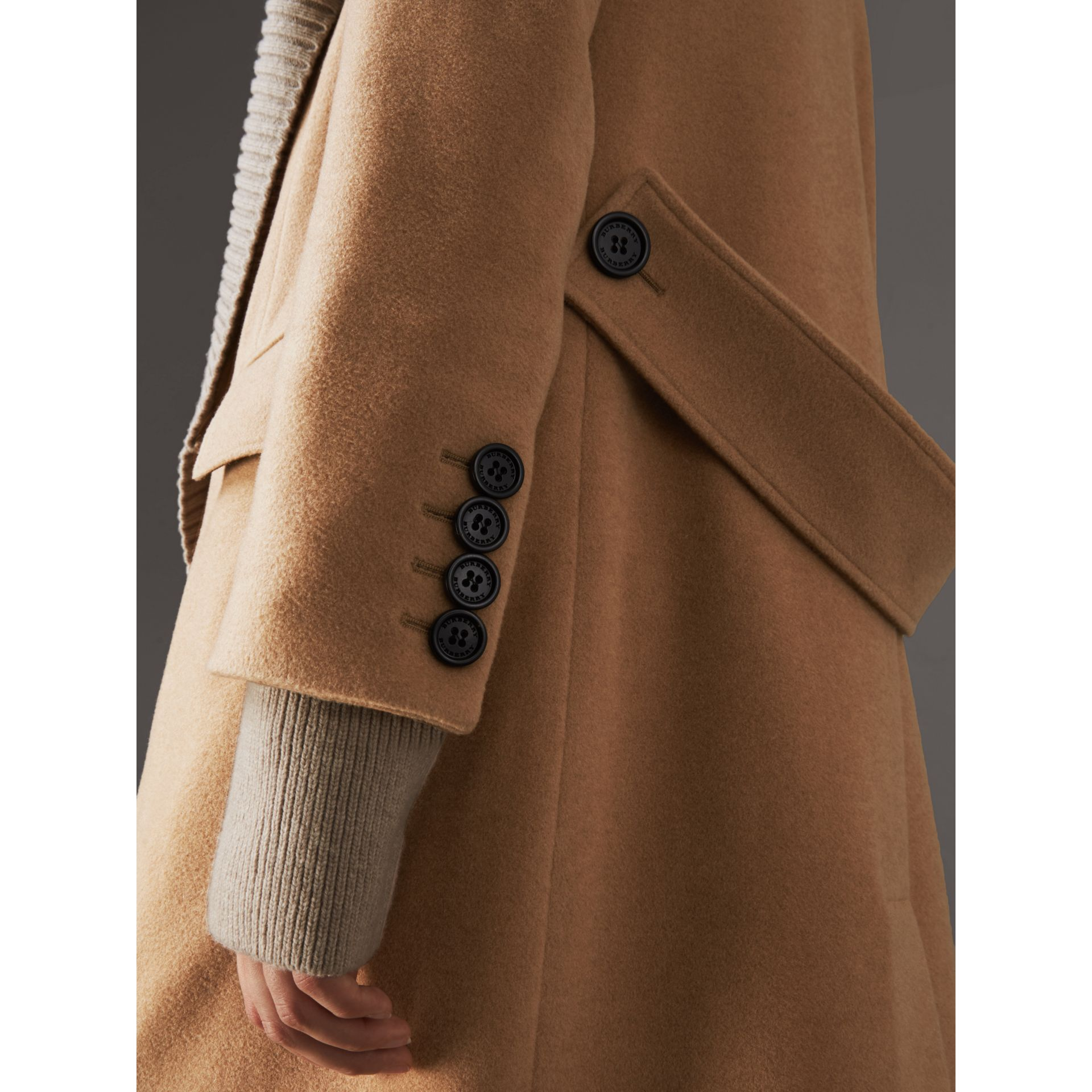 Detachable Rib Knit Collar Cashmere Coat in Camel - Women | Burberry - gallery image 5