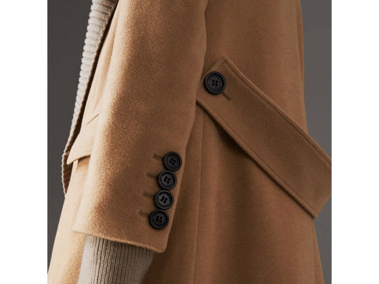 Detachable Rib Knit Collar Cashmere Coat in Camel - Women | Burberry Australia - cell image 4