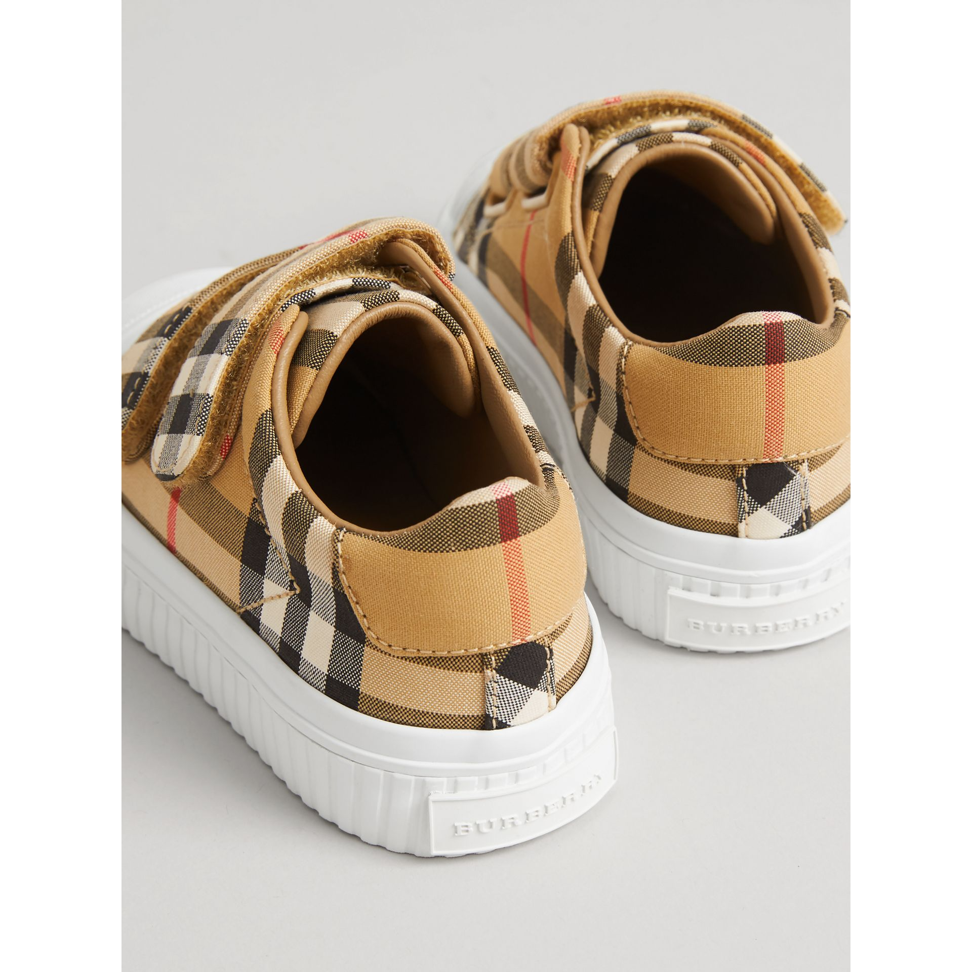 Vintage Check and Leather Sneakers in Optic White/black | Burberry Singapore - gallery image 2